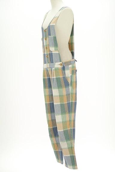 CUBE SUGAR(キューブシュガー)の古着「チェック柄コットンリネンサロペット(オーバーオール・サロペット)」大画像3へ