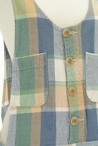 CUBE SUGAR(キューブシュガー)の古着「チェック柄コットンリネンサロペット(オーバーオール・サロペット)」大画像4へ