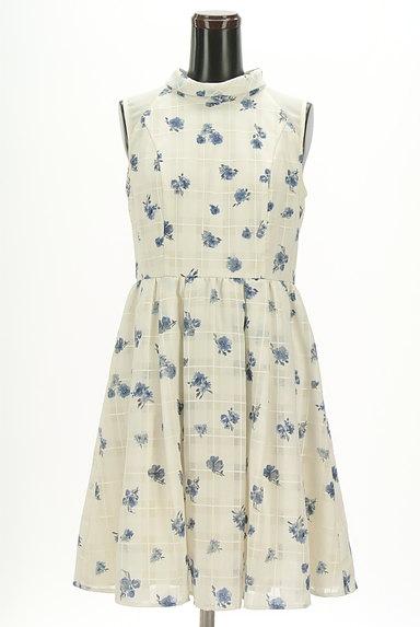 Rirandture(リランドチュール)の古着「シアーチェック花柄フレアワンピ(ワンピース・チュニック)」大画像1へ