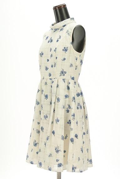 Rirandture(リランドチュール)の古着「シアーチェック花柄フレアワンピ(ワンピース・チュニック)」大画像3へ