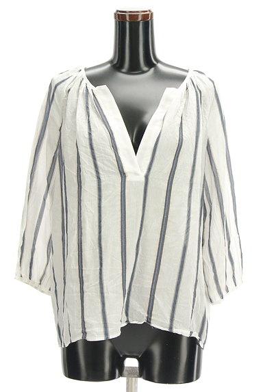 LAUTREAMONT(ロートレアモン)の古着「スキッパーカラーストライプ柄シャツ(カットソー・プルオーバー)」大画像1へ