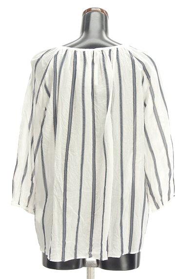 LAUTREAMONT(ロートレアモン)の古着「スキッパーカラーストライプ柄シャツ(カットソー・プルオーバー)」大画像2へ