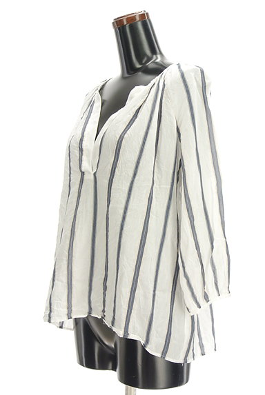 LAUTREAMONT(ロートレアモン)の古着「スキッパーカラーストライプ柄シャツ(カットソー・プルオーバー)」大画像3へ