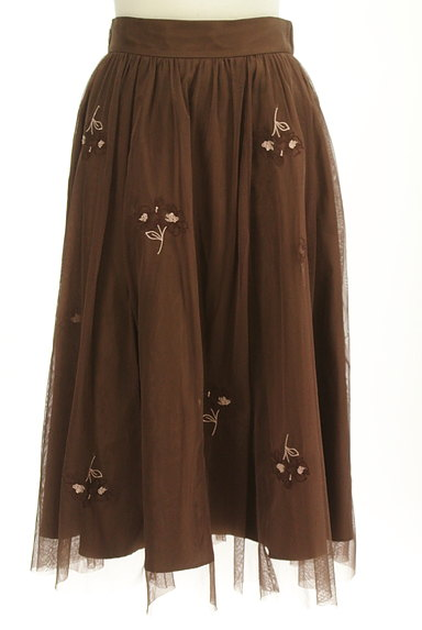 LAISSE PASSE(レッセパッセ)の古着「ミモレ丈花刺繍チュールフレアスカート(スカート)」大画像1へ