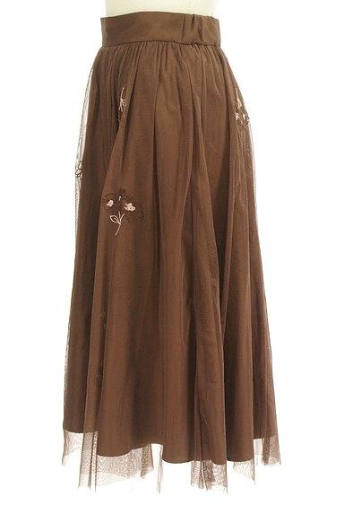 LAISSE PASSE(レッセパッセ)の古着「ミモレ丈花刺繍チュールフレアスカート(スカート)」大画像3へ