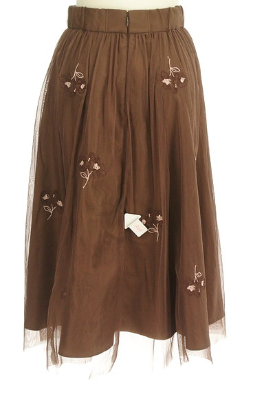LAISSE PASSE(レッセパッセ)の古着「ミモレ丈花刺繍チュールフレアスカート(スカート)」大画像4へ