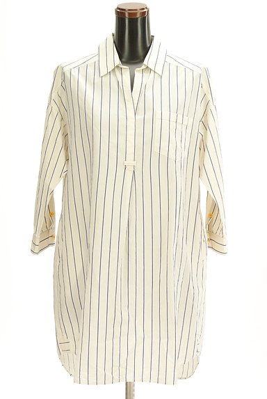 nano・universe(ナノユニバース)の古着「七分袖スキッパーカラーロングシャツ(カジュアルシャツ)」大画像1へ