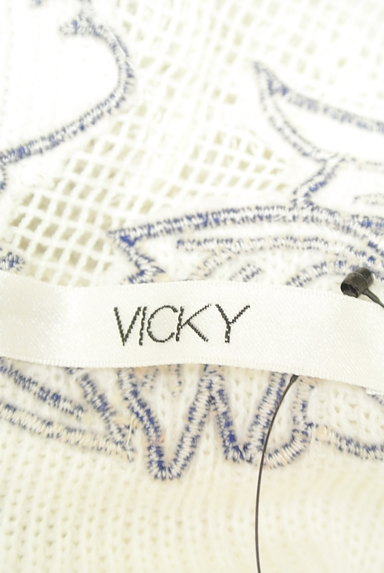 VICKY(ビッキー)の古着「刺繍レースシアーニットトップス(ニット)」大画像6へ