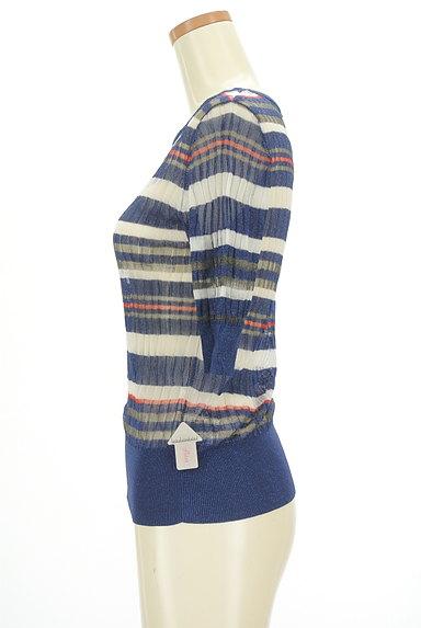 VICKY(ビッキー)の古着「ラメボーダー5分袖シアーニット(ニット)」大画像4へ