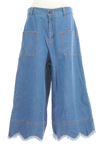 Jocomomola(ホコモモラ)の古着「ミモレ丈スカラップ裾デニムパンツ(デニムパンツ)」大画像1へ