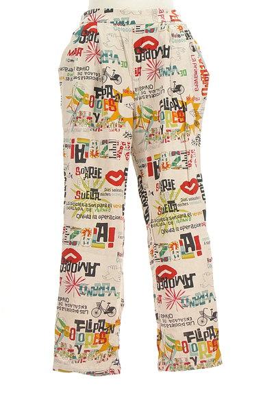 Jocomomola(ホコモモラ)の古着「ロゴイラストリネンテーパードパンツ(パンツ)」大画像1へ