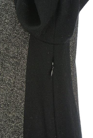 INDIVI(インディヴィ)の古着「ヘリンボーン×無地9分袖ウールワンピース(ワンピース・チュニック)」大画像4へ