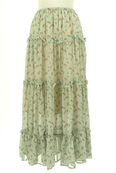 HONEY MI HONEY(ハニーミーハニー)の古着「小花柄ティアードフリルシフォンスカート(ロングスカート・マキシスカート)」大画像1へ