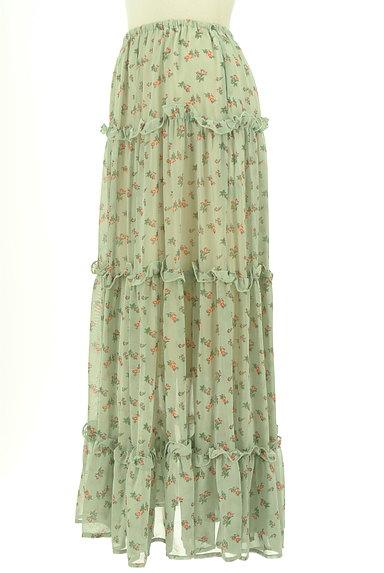 HONEY MI HONEY(ハニーミーハニー)の古着「小花柄ティアードフリルシフォンスカート(ロングスカート・マキシスカート)」大画像3へ
