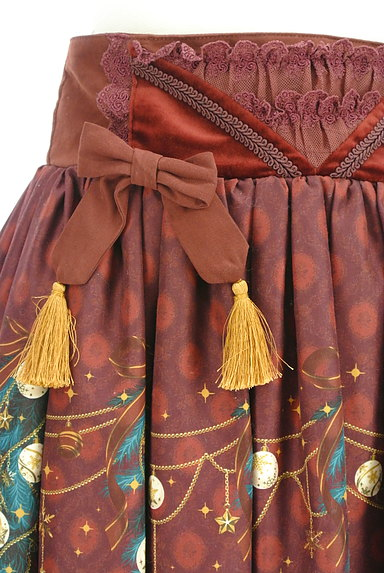 axes femme(アクシーズファム)の古着「クリスマス柄フレアリボンスカート(スカート)」大画像4へ