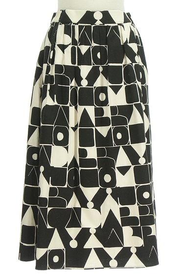 Jocomomola(ホコモモラ)の古着「ミモレ丈モノトーンロゴスカート(ロングスカート・マキシスカート)」大画像1へ