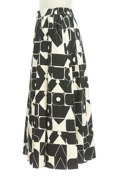 Jocomomola(ホコモモラ)の古着「ミモレ丈モノトーンロゴスカート(ロングスカート・マキシスカート)」大画像3へ