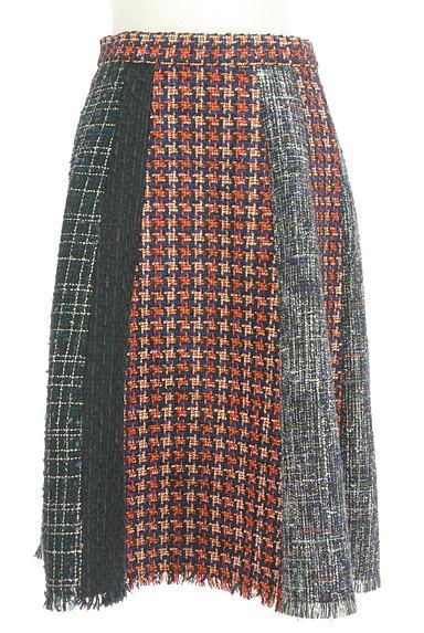 STRAWBERRY-FIELDS(ストロベリーフィールズ)の古着「膝下丈ラメツイード切替フレアスカート(スカート)」大画像1へ