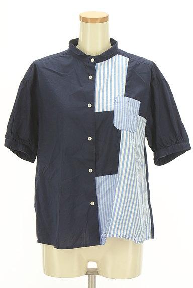POU DOU DOU(プードゥドゥ)の古着「ストライプ柄切替バンドカラーシャツ(カジュアルシャツ)」大画像1へ