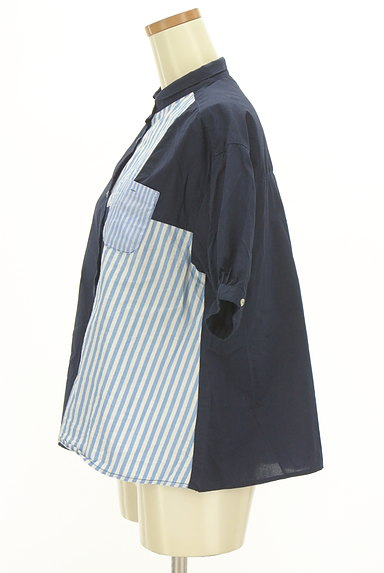 POU DOU DOU(プードゥドゥ)の古着「ストライプ柄切替バンドカラーシャツ(カジュアルシャツ)」大画像3へ