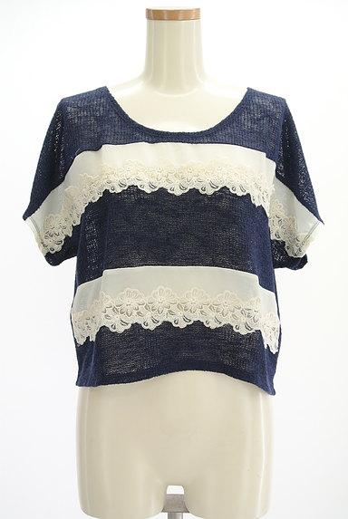 axes femme(アクシーズファム)の古着「花刺繍シフォンボーダーニット(ニット)」大画像1へ