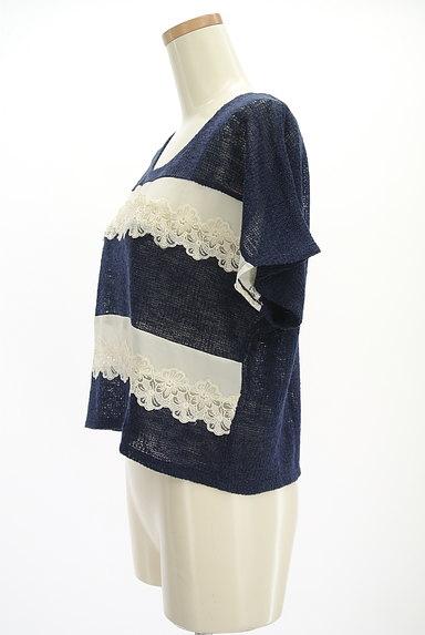 axes femme(アクシーズファム)の古着「花刺繍シフォンボーダーニット(ニット)」大画像3へ