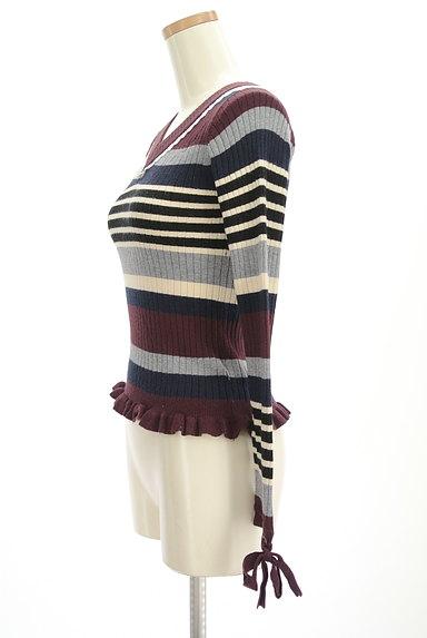 axes femme(アクシーズファム)の古着「袖口リボンボーダーリブニット(ニット)」大画像3へ