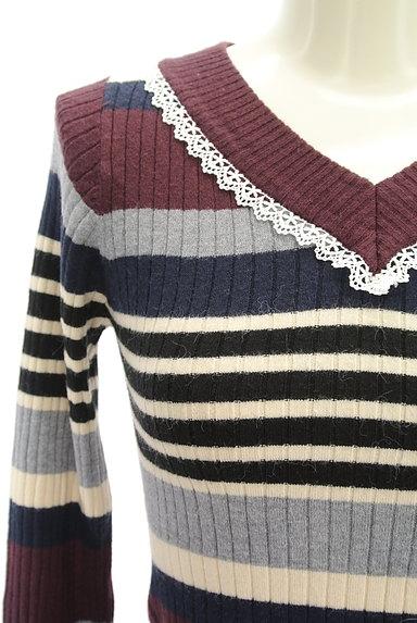 axes femme(アクシーズファム)の古着「袖口リボンボーダーリブニット(ニット)」大画像4へ