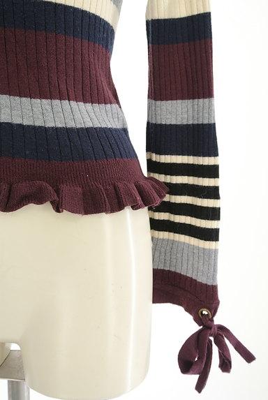 axes femme(アクシーズファム)の古着「袖口リボンボーダーリブニット(ニット)」大画像5へ