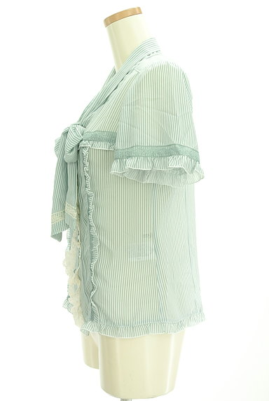 axes femme(アクシーズファム)の古着「タイリボンストライプ柄シフォンブラウス(ブラウス)」大画像3へ