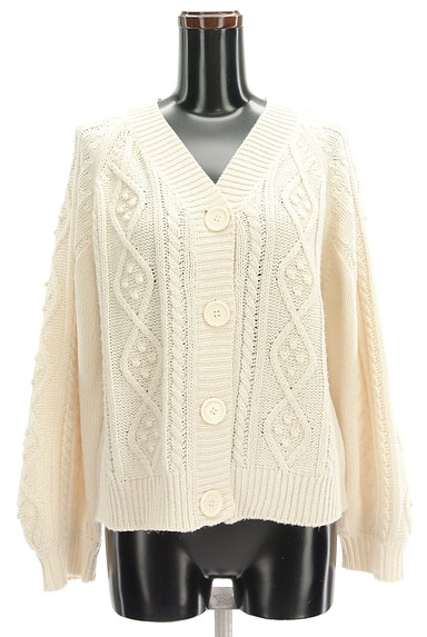 SM2(サマンサモスモス)の古着「ボリューム袖ケーブル編みカーデ(カーディガン・ボレロ)」大画像1へ