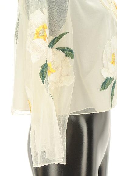 Snidel(スナイデル)の古着「フローラル刺繍チュールカットソー(カットソー・プルオーバー)」大画像5へ