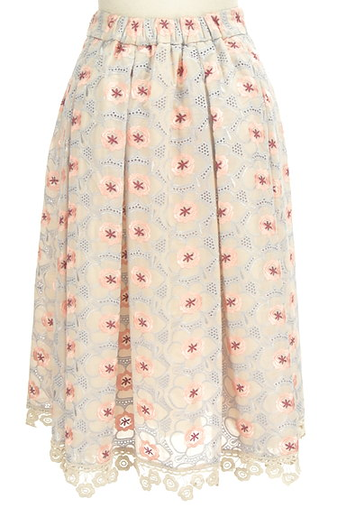 Lily Brown(リリーブラウン)の古着「フラワーカットワークミモレスカート(ロングスカート・マキシスカート)」大画像2へ