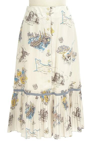 Lily Brown(リリーブラウン)の古着「西洋プリント裾プリーツスカート(ロングスカート・マキシスカート)」大画像1へ