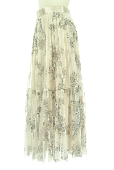 JUSGLITTY(ジャスグリッティー)の古着「花柄ロングチュールプリーツスカート(ロングスカート・マキシスカート)」大画像3へ