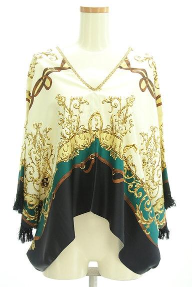 BABYLONE(バビロン)の古着「スカーフ柄袖フリンジカットソー(カットソー・プルオーバー)」大画像1へ