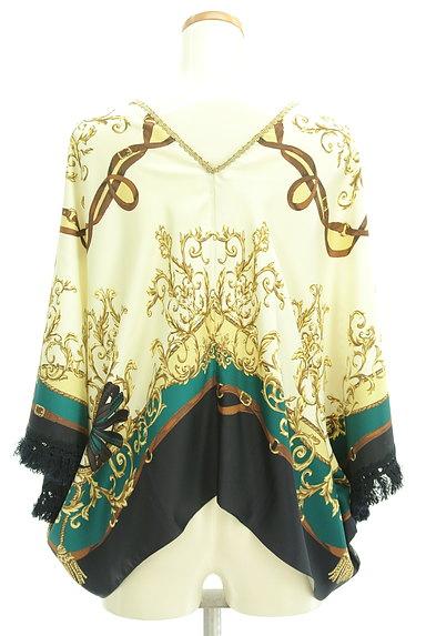 BABYLONE(バビロン)の古着「スカーフ柄袖フリンジカットソー(カットソー・プルオーバー)」大画像2へ