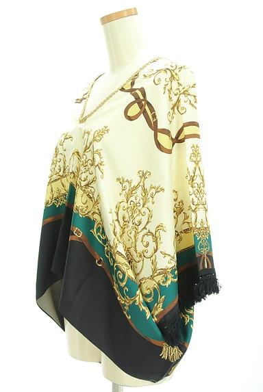BABYLONE(バビロン)の古着「スカーフ柄袖フリンジカットソー(カットソー・プルオーバー)」大画像3へ