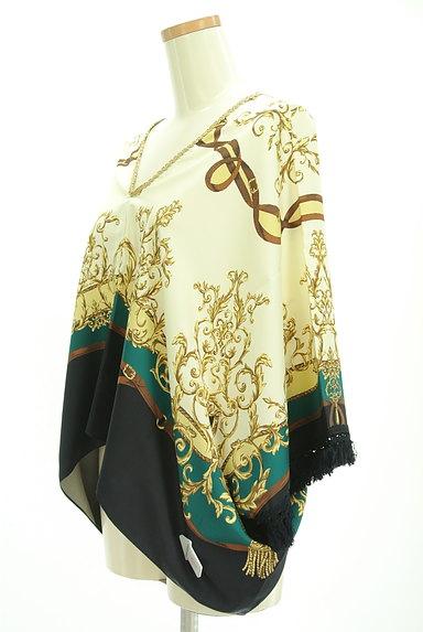 BABYLONE(バビロン)の古着「スカーフ柄袖フリンジカットソー(カットソー・プルオーバー)」大画像4へ