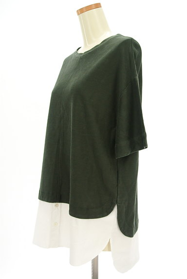 MAYSON GREY(メイソングレイ)の古着「裾シャツ切替5分袖カットソー(カットソー・プルオーバー)」大画像3へ