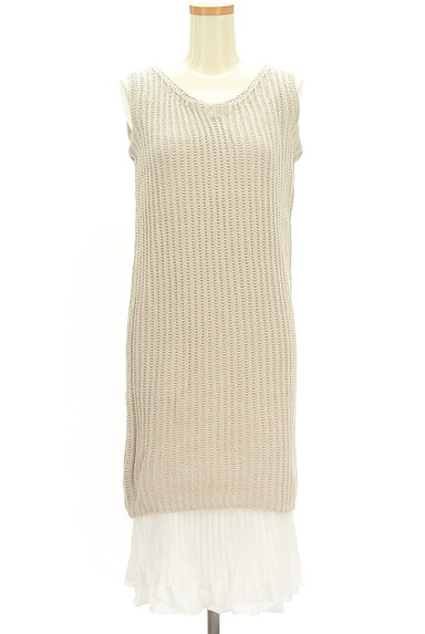 rienda(リエンダ)の古着「プリーツ裾レイヤードニットワンピ(キャミワンピース)」大画像1へ