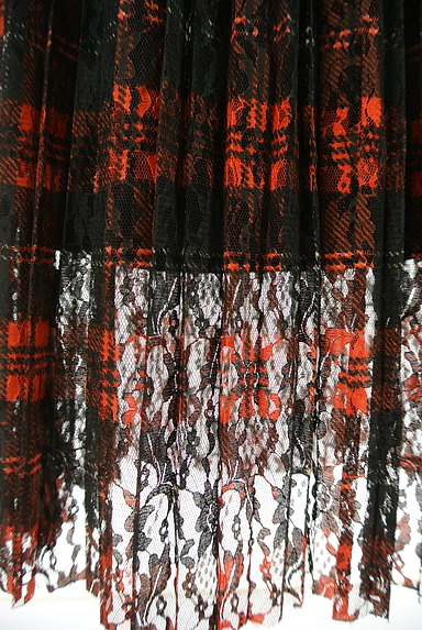 MOUSSY(マウジー)の古着「チェック柄レースプリーツスカート(ロングスカート・マキシスカート)」大画像5へ