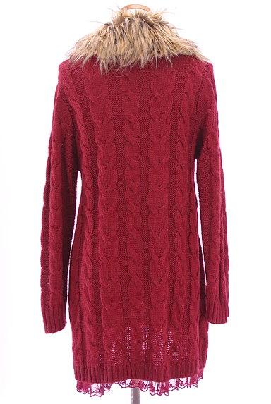 axes femme(アクシーズファム)の古着「ファー付きケーブルロングカーデ(カーディガン・ボレロ)」大画像2へ