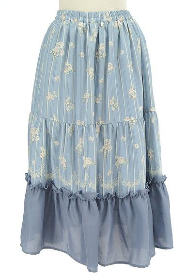 axes femme(アクシーズファム)の古着「花柄×ストライプフレアスカート(ロングスカート・マキシスカート)」大画像1へ