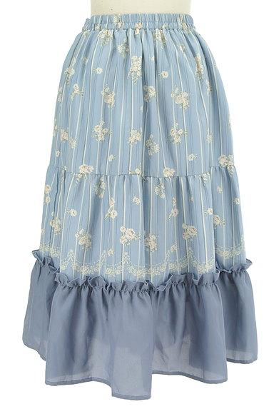 axes femme(アクシーズファム)の古着「花柄×ストライプフレアスカート(ロングスカート・マキシスカート)」大画像2へ