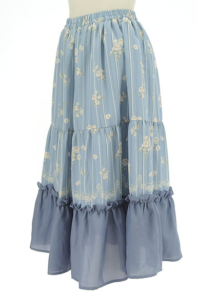 axes femme(アクシーズファム)の古着「花柄×ストライプフレアスカート(ロングスカート・マキシスカート)」大画像3へ