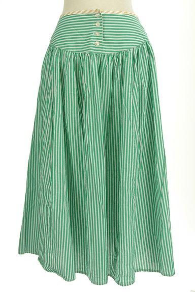 POU DOU DOU(プードゥドゥ)の古着「ストライプ柄ミモレ丈スカート(ロングスカート・マキシスカート)」大画像1へ