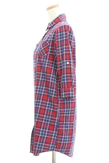NATURAL BEAUTY BASIC(ナチュラルビューティベーシック)の古着「7分袖チェックシャツチュニック(カジュアルシャツ)」大画像3へ