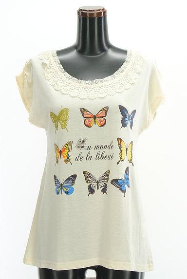 axes femme(アクシーズファム)の古着「蝶々プリントレースカットソー(カットソー・プルオーバー)」大画像1へ