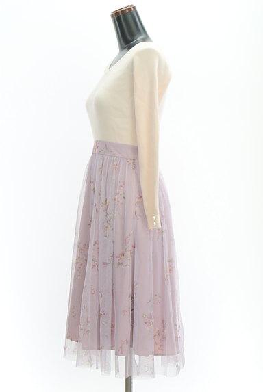 LAISSE PASSE(レッセパッセ)の古着「リブ×花柄チュールワンピース(ワンピース・チュニック)」大画像3へ